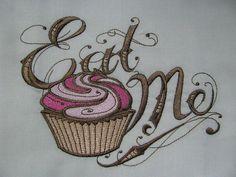 Eat Me Alice in Wonderland Embroidered Flour Sack Hand/Dish Towel via Etsy