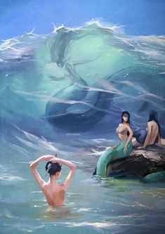 Molly Harrison Kindred Souls - Fairy and Dragon Magical Creatures, Fantasy Creatures, Sea Creatures, Mermaid Artwork, Mermaid Drawings, Siren Mermaid, Mermaid Fairy, Water Nymphs, Mermaids And Mermen