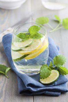 Refreshing water with lime and herbs