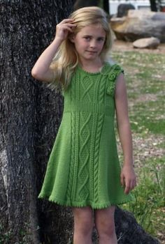 the online pattern store Girls Knitted Dress, Knit Baby Dress, Knitting For Kids, Baby Knitting Patterns, Crochet Patterns, Baby Overall, Baby Pullover, Baby Girl Dresses, Dress Girl