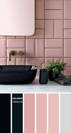 Pastel Bathroom, Pink Bathroom Tiles, Bathroom Color Schemes, Pink Tiles, Bathroom Colors, Colour Schemes, Color Palettes, Pink Bathrooms, Loft Bathroom