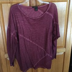 DKNY Jeans Blouse Color: shade of violet; Size Small; 3/4 length batwing sleeves; parts are sheer; lightweight DKNY Tops Blouses