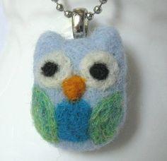 Needle Felt Owl Pendant Necklace  Whimsical by moonforest on Etsy, $16.00