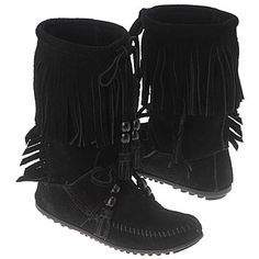 leather moccasin boots for women   Women's Minnetonka Moccasin Woodstock Boot Black Suede Shoes.com