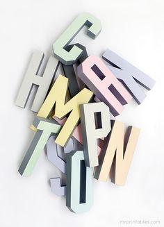 Lettere dell'alfabeto tridimensionali: pdf da stampare gratis!   Creare con la carta ♥