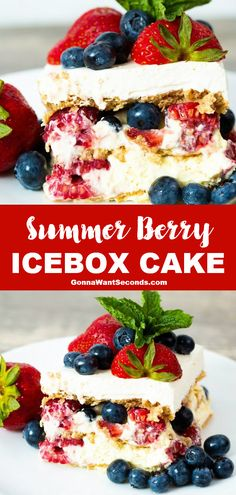 *NEW* Summer berry icebox cake is a cool creamy concoction of triple berry bliss and no-bake cake that comes together in the most delicious and refreshing way. #SummerCake #IceboxCake #NoBakeCake #CakeRecipes #BerryCake Recipes Using Fruit, Healthy Cake Recipes, Delicious Cake Recipes, Best Dessert Recipes, Snack Recipes, Summer Cakes, Summer Desserts, Fun Desserts, Summer Food