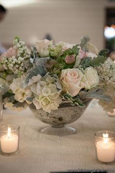 Hints of blush, grey and white. Beautiful wedding flowers. Source: Alison Harper and Company. #centerpiece