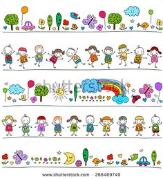 colorful pattern with children and cute nature elements, child like drawing style Art Drawings For Kids, Drawing For Kids, Cartoon Drawings, Easy Drawings, Stick Family, Painted Rocks Craft, Cute Cartoon Girl, Writing Art, Sketch Notes
