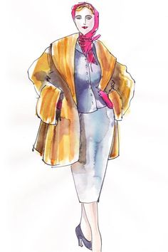 Sketch of Sandy Powell's design for 'Carol'