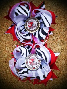 OU Oklahoma Sooners Boutique Hairbows Set of 2 by divagirlboutique, $15.00