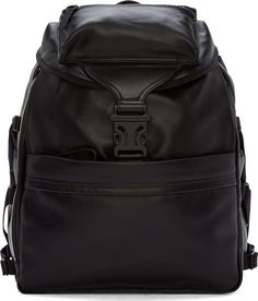 Alexander McQueen Black Leather Techno Clip Ribcage Backpack
