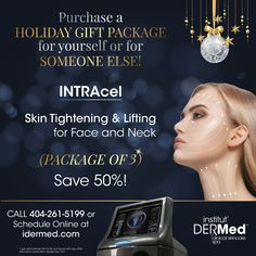 Save a whopping 50% on our NEW #Intracel Anti-Gravity Holiday Gift Package of 3! (Gift for yourself or someone else!) Institut' DERMed Spa is the Winner of The Best Place for Nonsurgical Facial Rejuvenation in Atlanta by Best Self Magazine. Facial Rejuvenation, Anti Gravity, Spa Deals, Spa Services, Spa Gifts, Skin Tightening, For Everyone, Someone Elses, Gift Packaging
