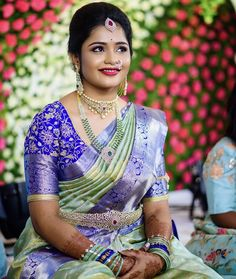 Image may contain: 1 person, sitting Indian Bridal Sarees, Indian Bridal Outfits, Wedding Silk Saree, Tamil Wedding, Indian Dresses, Wedding Bride, Fancy Blouse Designs, Bridal Blouse Designs, Pattu Saree Blouse Designs