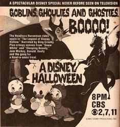 Vintage TV Guide ad for Disney Halloween cartoons.