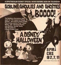 Vintage TV Guide ad for Disney Halloween cartoons.