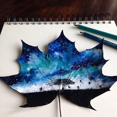 Artist Uses Leaves as Autumnal Canvases for Delicate Colored Pencil Drawings - My Modern Met