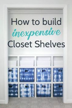 How to build cheap and simple DIY closet shelves - lovely etc.Build your own DIY closet shelves. These closet shelves are simple and inexpensive and the perfect way to organize any closet. Diy Closet Shelves, Clever Closet, Cheap Closet, Closet Built Ins, Simple Closet, Kid Closet, Closet Organization, Easy Shelves, Playroom Shelves