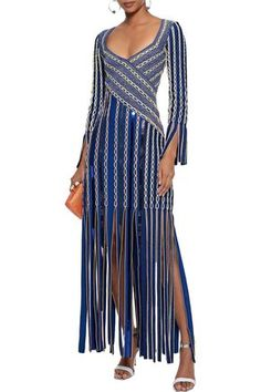 Shop on-sale Fringed sequin-embellished jacquard-knit gown. Browse other discount designer Maxi Dress & more luxury fashion pieces at THE OUTNET New Fashion, Luxury Fashion, Peter Pilotto, Dress Patterns, Fitness Models, Cold Shoulder Dress, Sequins, Gowns, Clothes