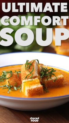 Tomato soup will never be the same after making it from scratch! Roasted tomatoes with simple sauteed onions and garlic all blended together for a smooth and luxurious texture. To kick it up a notch, grilled cheese croutons and fresh basil!