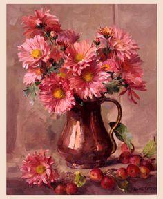Por amor al arte: Anne Cotterill Still Life Art, Arte Floral, Painting Lessons, Botanical Prints, Beautiful Paintings, Art Techniques, Watercolor Paintings, Flower Paintings, Art Pictures