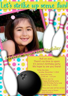 Fun and whimsical Bowling Party Invitation for Girl