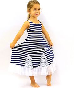 This Navy & White Stripe Tango Dress - Toddler & Girls by Mia Belle Baby is perfect! #zulilyfinds