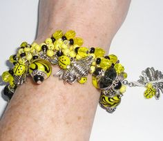 OOAK Handmade Silver Ladybug and Bumble Bee, Yellow and Black Chunky Charm Bracelet, Cha Cha Bracelet by DonnaLeaJewelry, $85.00  http://www.DonnaLeaJewelry.etsy.com