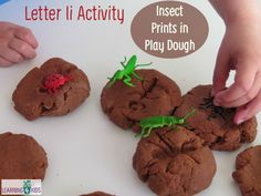 Letter I Activity - Insect Prints in Play Dough Plus a nutmeg scented play dough recipe.