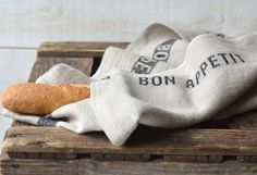Two NATURAL BON APPETIT Black French country 2 Linen #CampEtsy