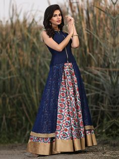 Navy Designer Ready Made Georgette Party Lehenga Cum Salwar Suit