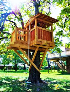 Treehouses Swingsets and Playsets Playhouses Playgrounds visit our general carpentry site for: Decks and Porches Perg. Kids Tree Forts, Play Houses, Tree Houses, Kids Play Area, Dream Studio, Decks And Porches, Backyard Projects, Outdoor Spaces, Playground