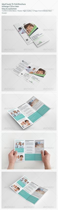 IdeaClouds Tri-Fold Brochure  #GraphicRiver        IdeaClouds Tri-Fold Brochure  Details   2 Pages Front (Outside) Back (Inside)  300 DPI, CMYK – Print ready  Master Pages Guides  0.125in Bleed  Easy to customize   Included Files   InDesign CS3 (.inx)  InDesign CS4 (.indd)  InDesign CS4 or later (.idml)  InDesign CS6 (.indd)  PDF preview file   Help file    Dimension   Letter – 11×8.5in 0.125in bleed   Fonts used   Only free fonts used. Download links included in package.  Aller  PT Sans…