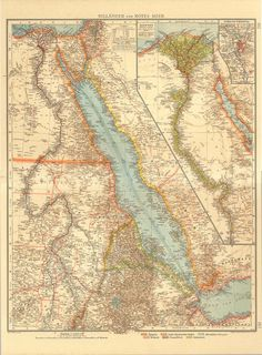 Red Sea and Nile River  Map 1922 Antique Lithograph