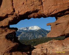 Pikes Peak through the Siamese Twins in winter. Garden of the Gods, Colorado Springs, Colorado