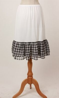 Modest skirt extender slip with ruffle tiered checkered bottom available in S-L…