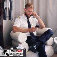 For Sunday June 2018 is this great bearded photo sent into BeardCode by Pilot Uniform, Men In Uniform, Different Beard Styles, Beard Model, Great Beards, Bear Men, Military Men, Hairy Men, Cute Guys