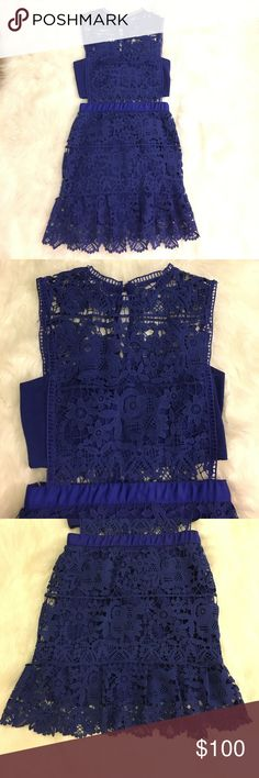 ❗️❗️MOVING SALE! NWT Romeo & Juliet Couture Lace ✨MOVING SALE! NWT gorgeous blue lace dress. Peekaboo holes on the wait with lace through the neckline. Romeo & Juliet Couture Dresses