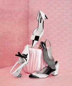 Clockwise from top: Louis Vuitton shoe, $856; louisvuitton.com. Dries Van Noten shoe, $680; saks.com. Oscar de la Renta shoe, $695; (212) 288-5810. Marc Jacobs shoe, $595; marcjacobs.com.
