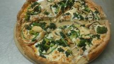 Veggie Lovers Delight, onions, broccoli, peppers, spinach and mushrooms