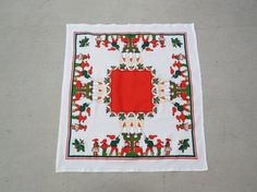 Swedish vintage 1960s small printed cotton christmas design tablet tablecloth with folkdance pairs Christmas motives