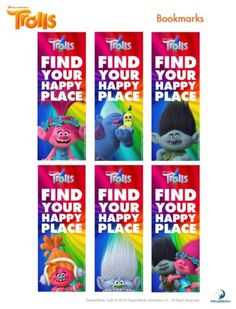 Trolls Bookmarks – Free Printable – Free Party Printables