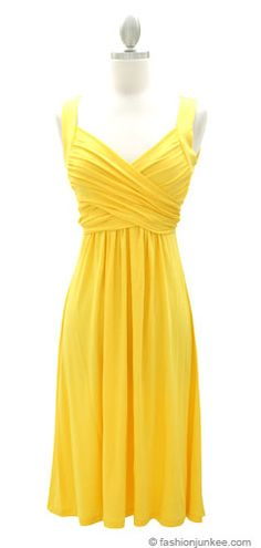Crossover Fauxe Wrap Vintage Inspired Jersey Dress-Yellow (Would look cute with a denim jacket) Trendy Dresses, Cute Dresses, Beautiful Dresses, Casual Dresses, Short Dresses, Cute Outfits, Summer Dresses, Women's Dresses, Dresses Online
