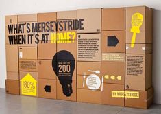Home for Mersystride by The Chase - A simple graphic style was developed across cardboard boxes for the flat-pack furniture, which also became promotional material.