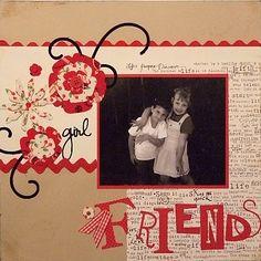 scrapbook ideas | Die Cutting Fabric - Girl Friends Scrapbook Page