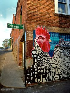 chicken waiting to cross the road mural, corner of Chicken Alley....