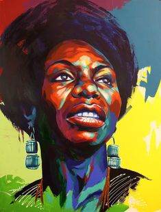 Just Finished up the Nina Simone commissioned painting. This new process is turning out well. Nina Simone, Black Girl Art, Black Women Art, African American Artist, African Art, Abstract Portrait, Portrait Art, Portraits, Art And Illustration