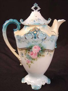 78 - Unsigned RS Prussia Tea Pot, blue with pink flowers, 10in. T, 7in. W