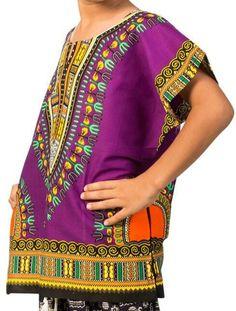 African Boys Dashiki Shirt Kids Mexican Poncho Top Hippie Girls Blouse Purple XL #Handmade #Hawaiian #Everyday