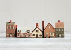Vintage Folk Art Wooden Houses/Village. via Etsy.