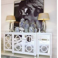 Worlds Away 3 Piece Mirrored Buffet - White Lacquer | Candelabra, Inc.